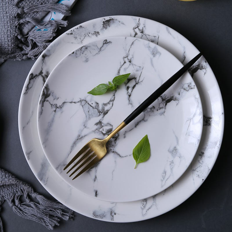 4pcs 8 10 Marble Pattern Porcelain Plate Ceramic