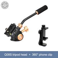 Q08S Aluminum 3 Way Fluid Head Rocker Arm Video Tripod Ball Head for DSLR Camera Tripod Monopod