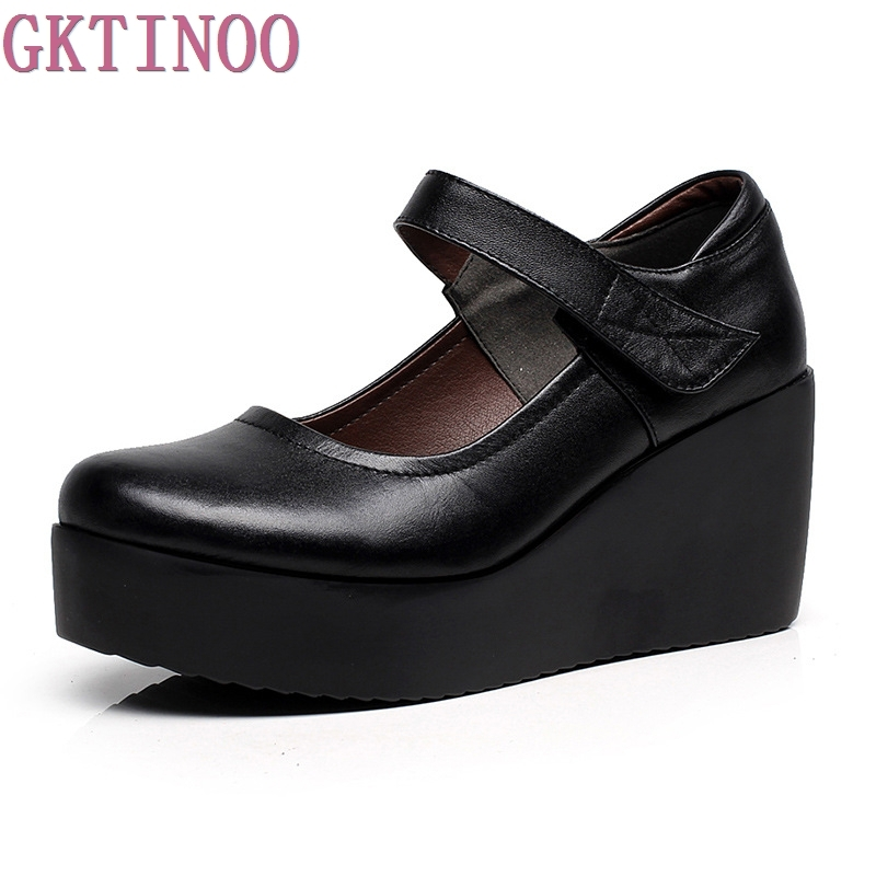 GKTINOO 2018 Spring Genuine Leather Women Pumps Platform Wedges Round Toes Ankle Strap High Heel Women Shoes new spring genuine leather women pumps platform wedges round toes embroider back zip high heel handmade women shoes