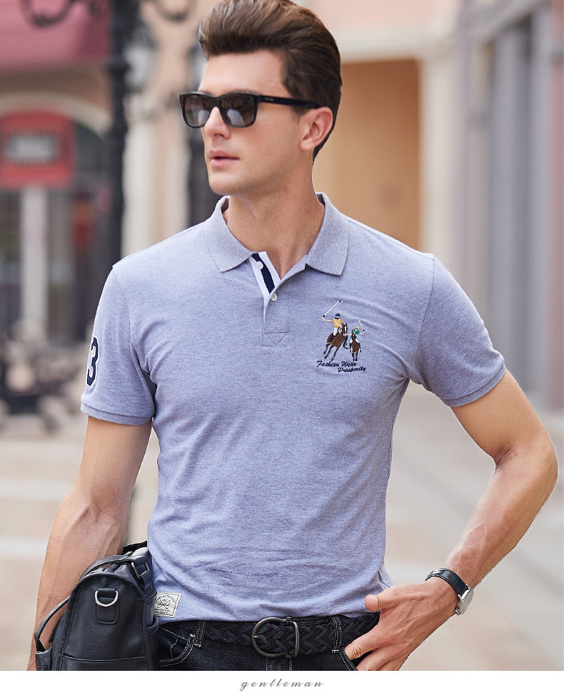 Fashion Summer Short Sleeve Solid Polo Shirt Men Cotton Print Slim Casual Polos Breathable Embroidery  Shirt Mens ClothingYP9099 14