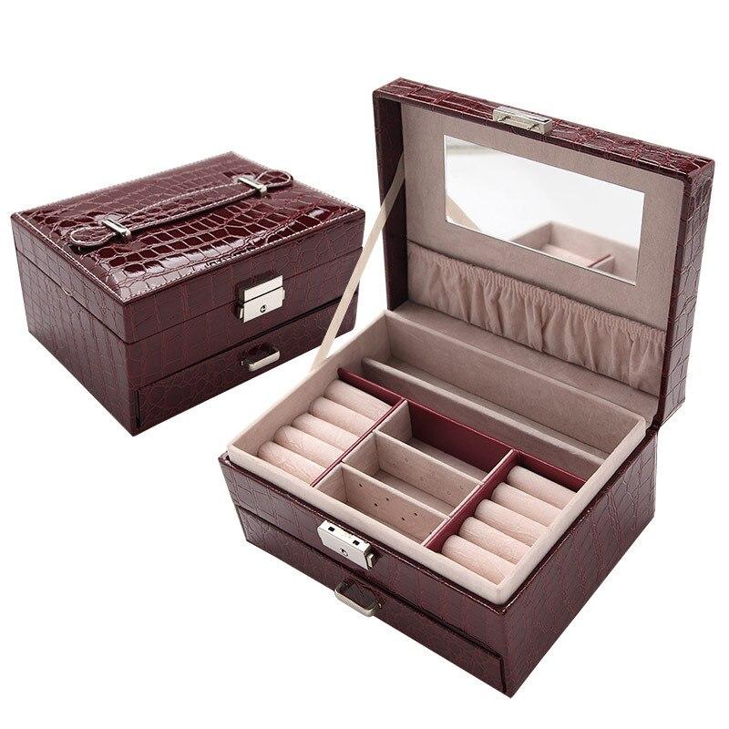 JULY'S canción Europa estilo joyería caja de almacenamiento de gran capacidad PU de cuero portátil joyería almacenamiento caja contenedor caja con espejo