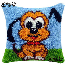 DIY Kait Anjing Bantal Cross Stitch Kit Bordir Menjahit Set Kartun Karpet Menjahit Merajut Karpet Kit Cushion Mat(China)
