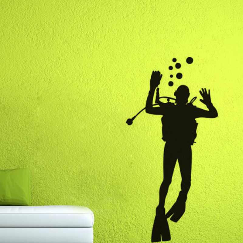 big size diver glass wall decal bathroom door decorative diy removable waterproof wall sticker home decoration