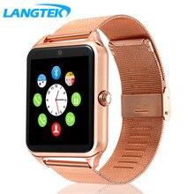 Хорошее Langtek Смарт-часы GT22 Bluetooth Подключение для iPhone телефона Android Smart Electronics с сим-карты Smartwatch телефон