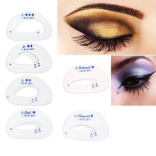 New 6 Pcs Eyebrow Stencil Eyeshadow Model Card Auxiliary Draw Eye Shadow Makeup Tool High Quality 2