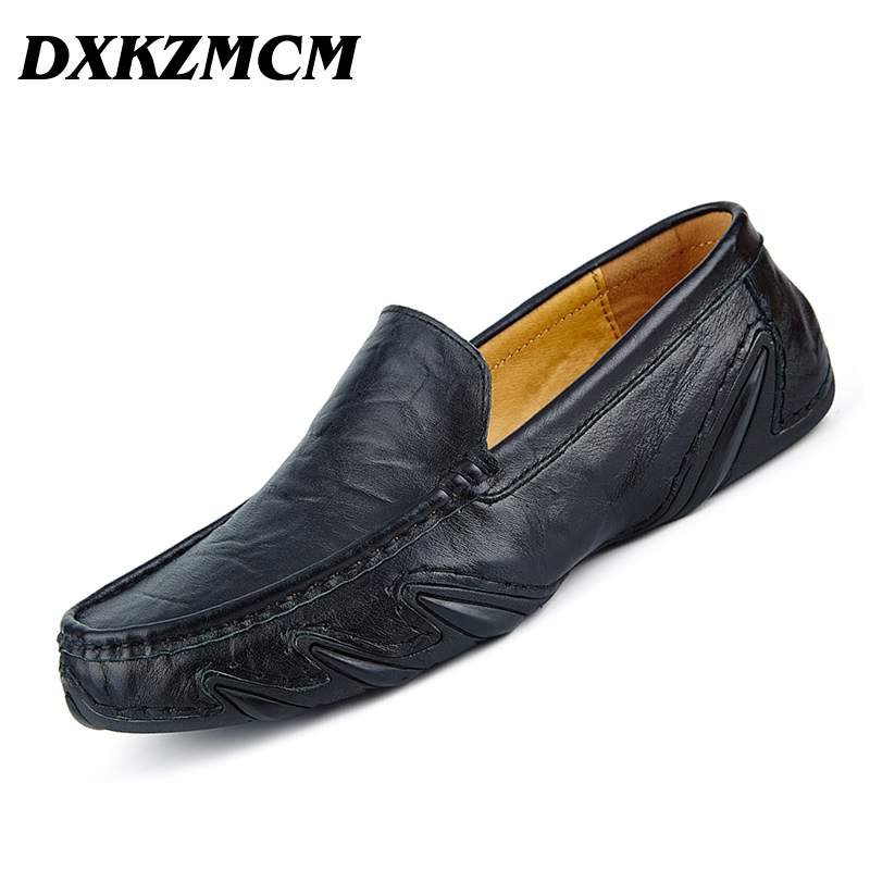 DXKZMCM Genuine Leather Men Shoes Soft Moccasins Loafers Fashion Brand Men Flats Comfy Driving Shoes genuine leather shoes men top quality driving flats shoes soft leather men shoes loafers moccasins breathable zapatos hombre