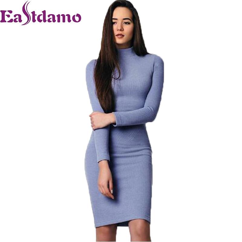 купить Eastdamo 2017 Autumn Blue Knitted Turtleneck Sweater Dress Sexy Bodycon Winter Dress Long Sleeve Knee Length Pencil Dress Robe недорого