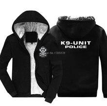Sudadera gruesa con cremallera para hombre, ropa de calle con capucha inspirada en K9 Unit, chaqueta fresca de policía negra, Harajuku, moda de invierno