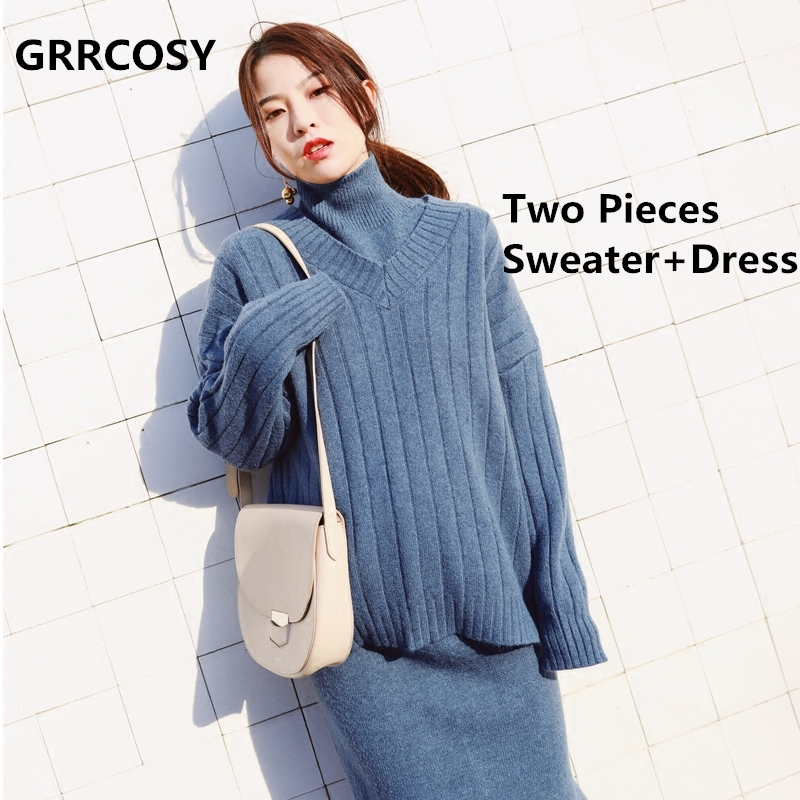 GRRCOSY 2pcs Knitted Maternity Sweate + Dress Korean Clothing Autumn Winter Clothes For Pregnant Women Pregnancy Dress grrcosy long maternity knitted sweaters dress for pregnancy autumn winter sexy split bottoming dress for pregnant women