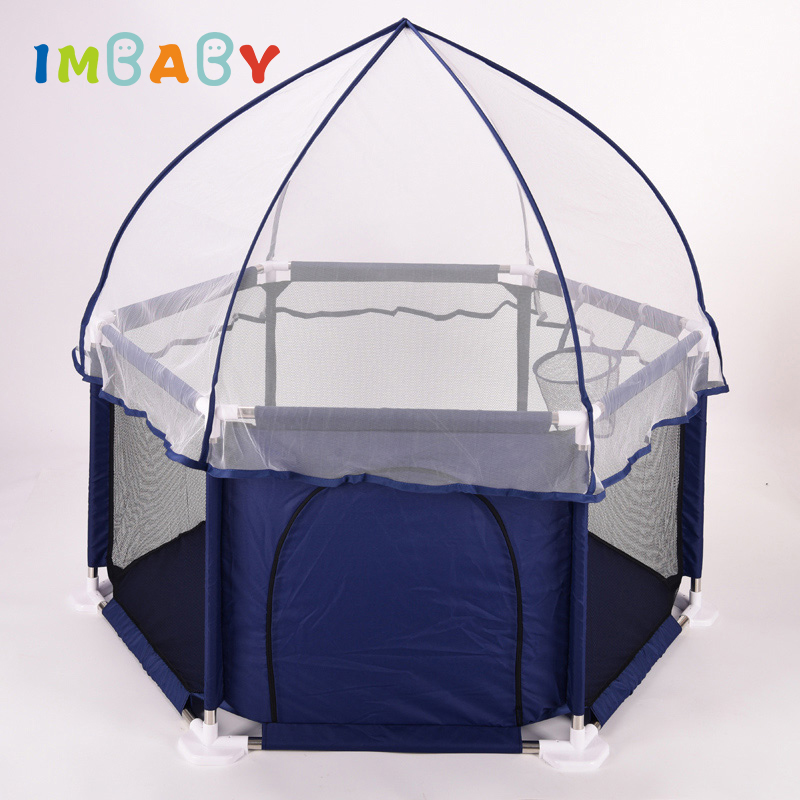 IMBABY Playpen for Children Playpen with basket Large Area Kids Tent Pool Balls Baby Playpen Ball