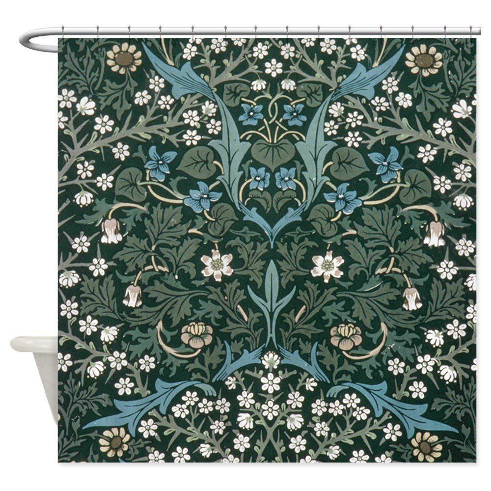 Blue and White Flowers on Green Shower Curtain - Decorative Fabric Shower Curtain (69x70)