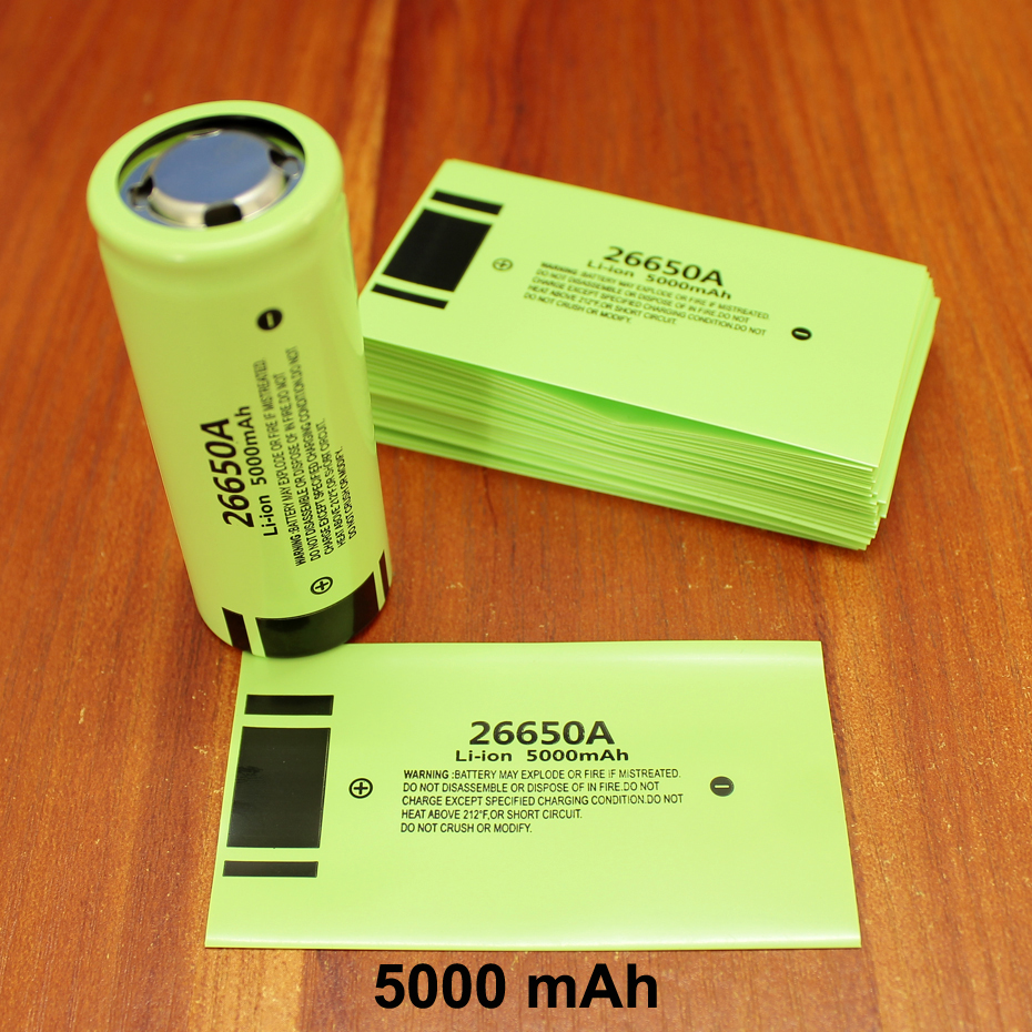 100pcs/lot Lithium Battery Encapsulation Sleeve 26650 Dedicated Pvc Shrink Film Skin 5000mah