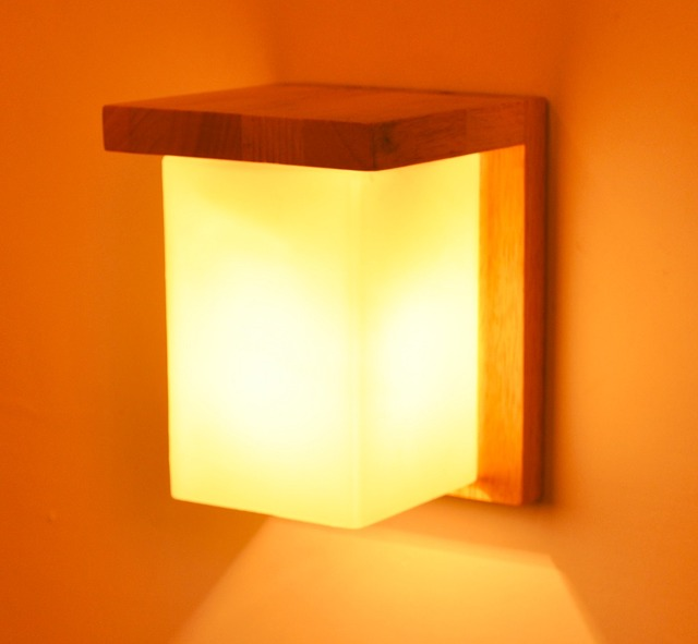Ganeed One Light Wooden Wall Sconces Light Led Lamp with Glass ...