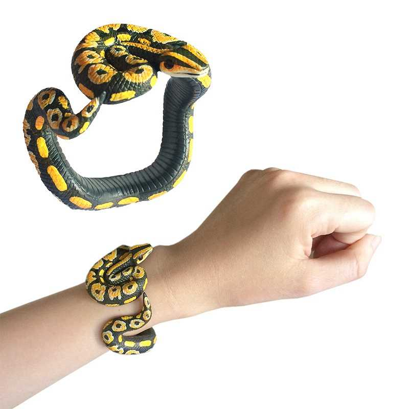Acessórios de Modelo Animal Simulação de Brinquedos Para Crianças Brinquedos de Cobra Em Forma de Pulseira de Cobra Cascavel Toy Engraçado Joke Prático TOY142