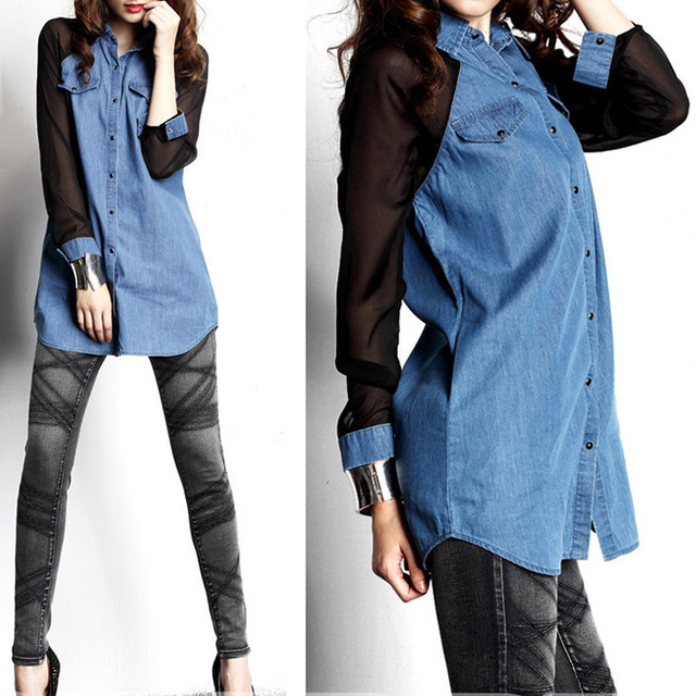 Free Shipping Long sleeves Woman Blue Jeans Tops Women Loose Jean Blouse On Sale 2013