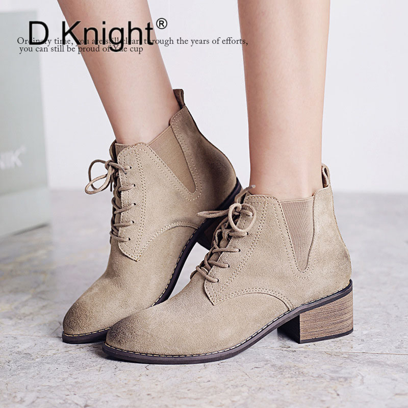 Vintage Genuine Leather Women Ankle Boots New Fashion Pointed Toe Lace Up Middle Height High Heels Motorcycle Boots Short Boots