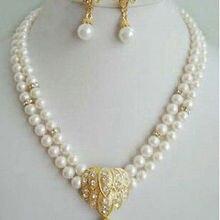 Настоящие женские новейший дизайн Благородство ювелирные изделия кристалл кварца 2 ряда белый жемчуг серьги-подвески ожерелье наборы