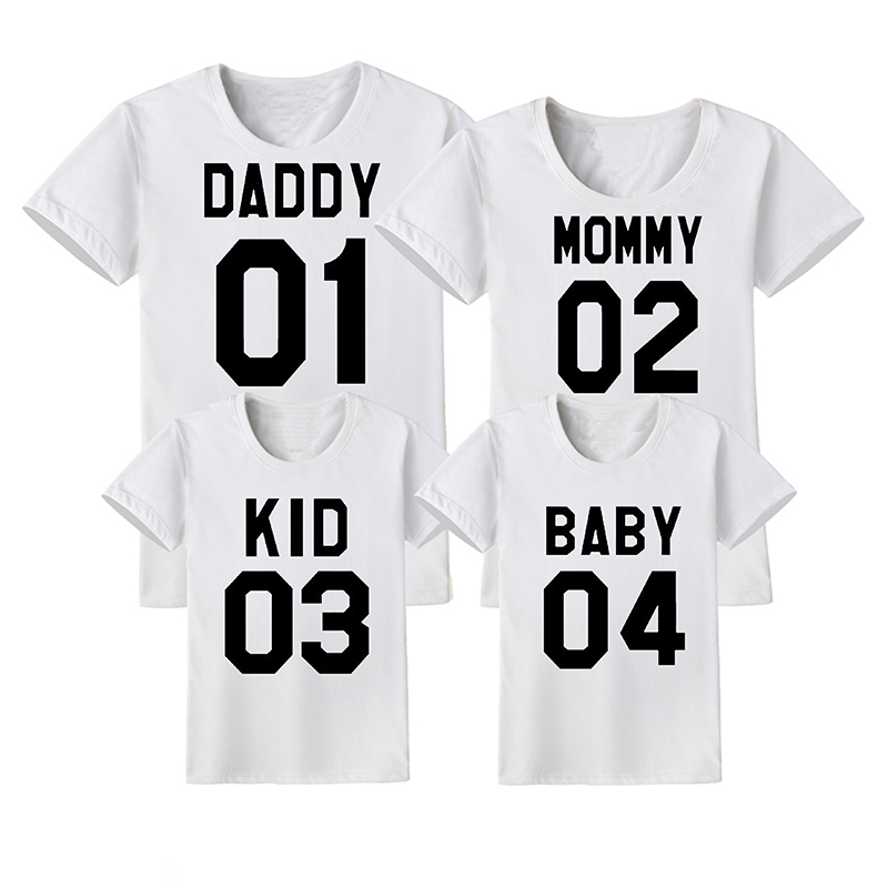 7f959492d 2019 Family Matching Clothes DADDY 01 MOMMY 02 KID 03 BABY 04 Family  Matching Outfits Mother