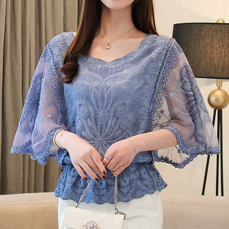 New Autumn Blouse O-Neck 2019 Summer Full Cotton Edge Lace Blouses Shirt Butterfly Flower Half Sleeve Women Shirt Fashion 86F3