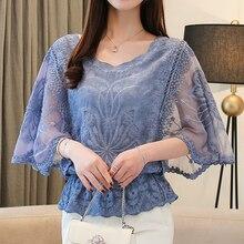 New Chiffon Blouse O-Neck 2019 Summer Full Cotton Edge Lace Blouses