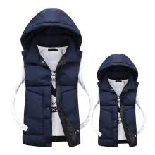 2018 new Casual Men Vest Slim Fit Hot Sale Waistcoat Hat Detachable Hooded Winter Warm Windbreak Khaki XS-3XL