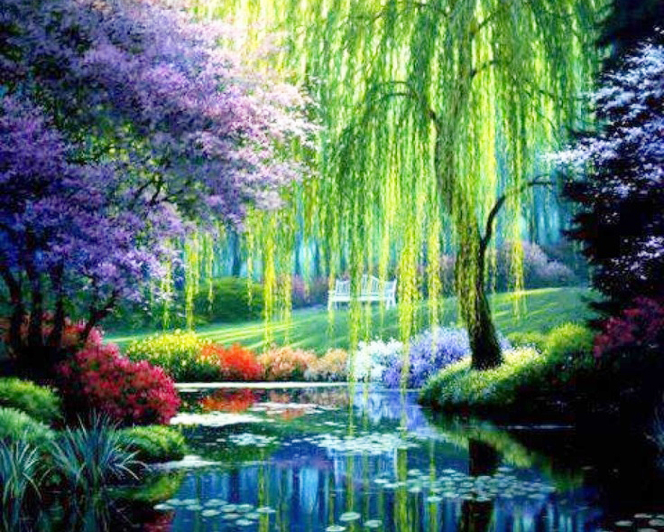 5D DIY Diamond Painting Weeping Willow Crystal Diamond Painting Cross Stitch River Views Scenic Needlework Home Decorative
