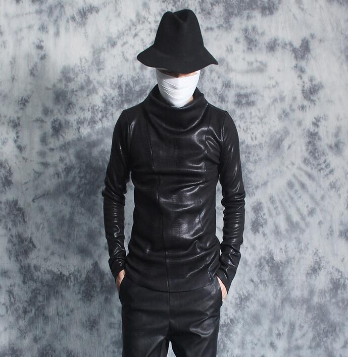 Punk épaissir chemise hommes plus velours chemise serpentine motif automne et hiver col roulé basique t-shirt hommes personnalité noir