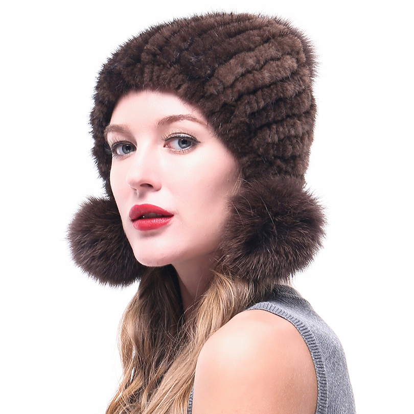LINLAIXUEDA Women Dark Brown Mink Fur Hat With Pom Winter Caps Fluffy Genuine Hats Natural Fur Caps female russian bomer caps