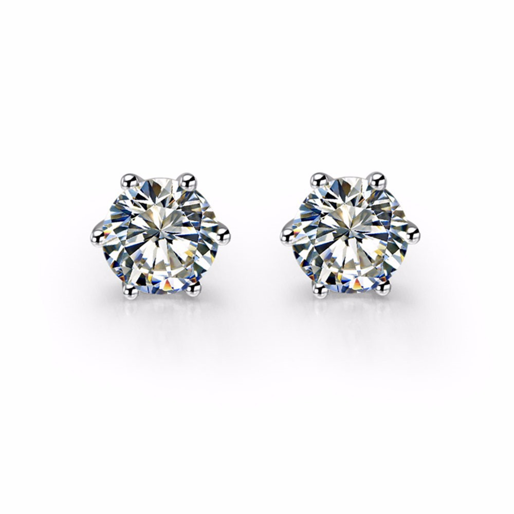 Piece Sterling Silver 925 Earrings Stud Round Cut Nscd Brand  Synthetic Gem Stud