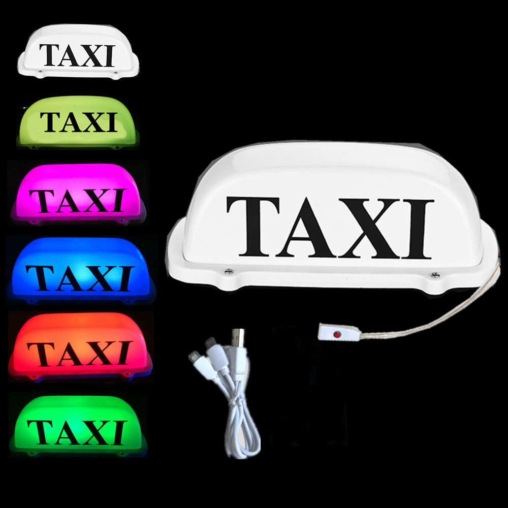 Wireless LED  7 COLORS Taxi Top Light change for car Roof Sign dome light 12V with Magnetic Base USB Charging