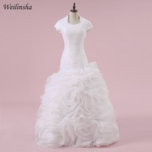 Weilinsha Mermaid Wedding Dresses Short Sleeves