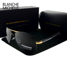 Blanche Michelle 2020 Vintage Pilot Sunglasses Men Polarized Sun Glasses Driving High Quality UV400 Sunglass okulary With Box