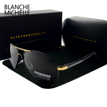 цена на Blanche Michelle 2020 Vintage Pilot Sunglasses Men Polarized Sun Glasses Driving High Quality UV400 Sunglass okulary With Box