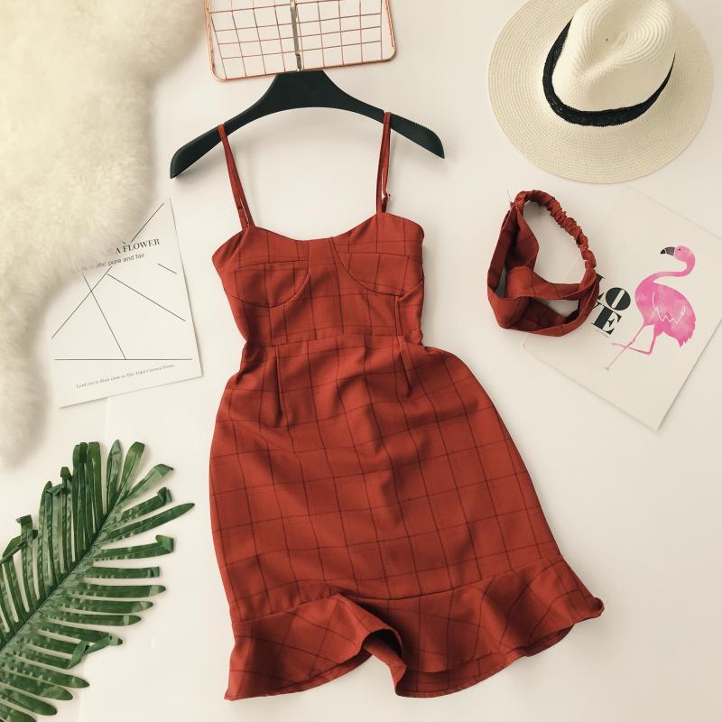 Ruffles Slim Fashion 2019 Sexy Summer Plaid Print Spaghetti Strap Mini Short Dress Party Women Casual Evening Mermaid Vestidos
