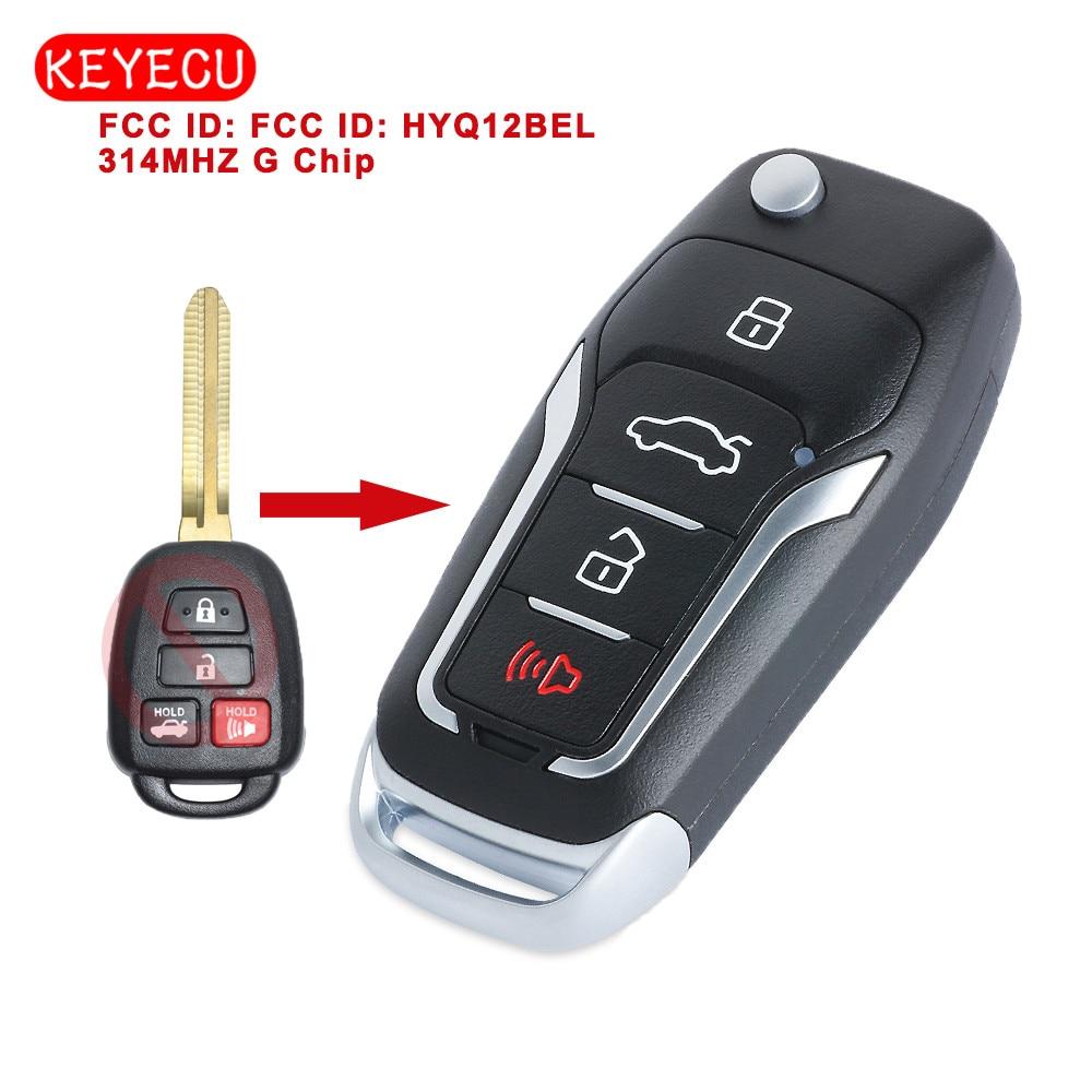 Keyecu Upgraded Remote Key 4 Button 314MHz G Chip for Toyota Camry Rav4 2012-2016 FCC ID: HYQ12BEL