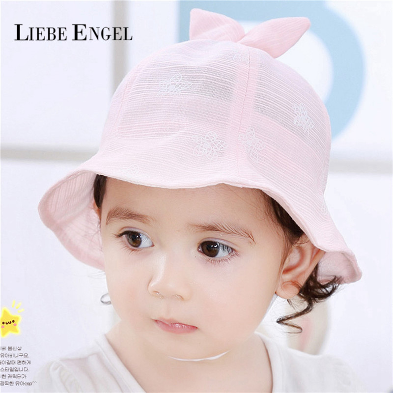 Newly Floral Print Cotton Baby Summer Hat Kids Girls Bowknot Sun Bucket Hats Outdoor Hot Sale