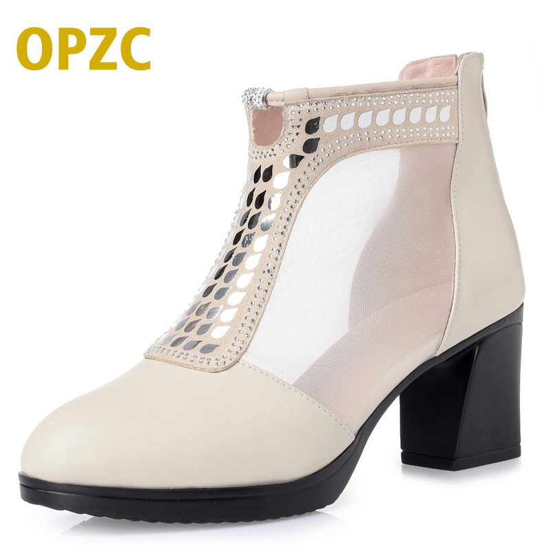 OPZC Summer Women Mesh Shoes Fashion Breathable Tenis women Sandals High heel pumps Sexy hollow Calf High spring boots Feminino