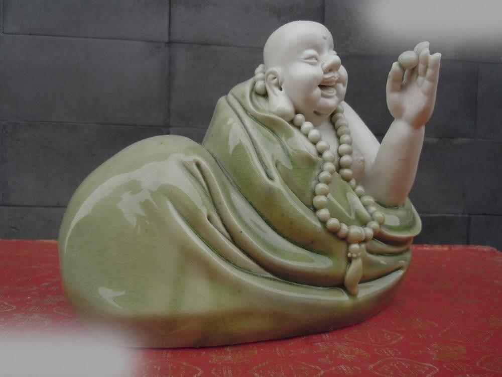 DS China Colour Porcelainthe Happy Buddha Sculpture Statue