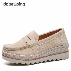 Image 4 - Dobeyping Neue Frühling Herbst Schuhe Frau Plattform Echtem Leder Frauen Wohnungen Dicke Sohle frauen Müßiggänger Mokassins Weibliche Schuh