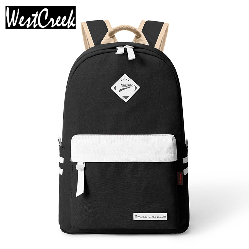 Preppy Style Fashion Women Canvas Solid School Bag Brand Travel Black Backpack For Girls Teenagers Stylish