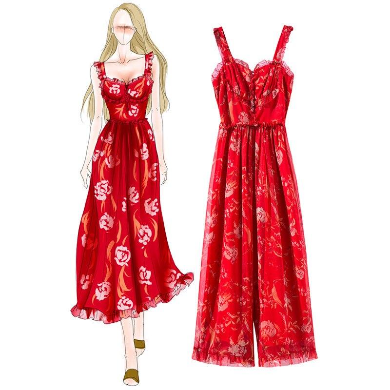 Women Vintage summer Floral Print 15% Silk printed Braces Straps Jumpsuit