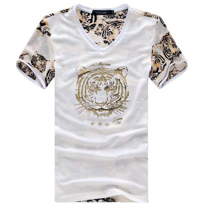 MIUK Tiger Print Men Tshirt Short Sleeves V Neck Mesh Tee Shirt Fashion Men 2014 Soft Tees 2 Colors Black White XXXL