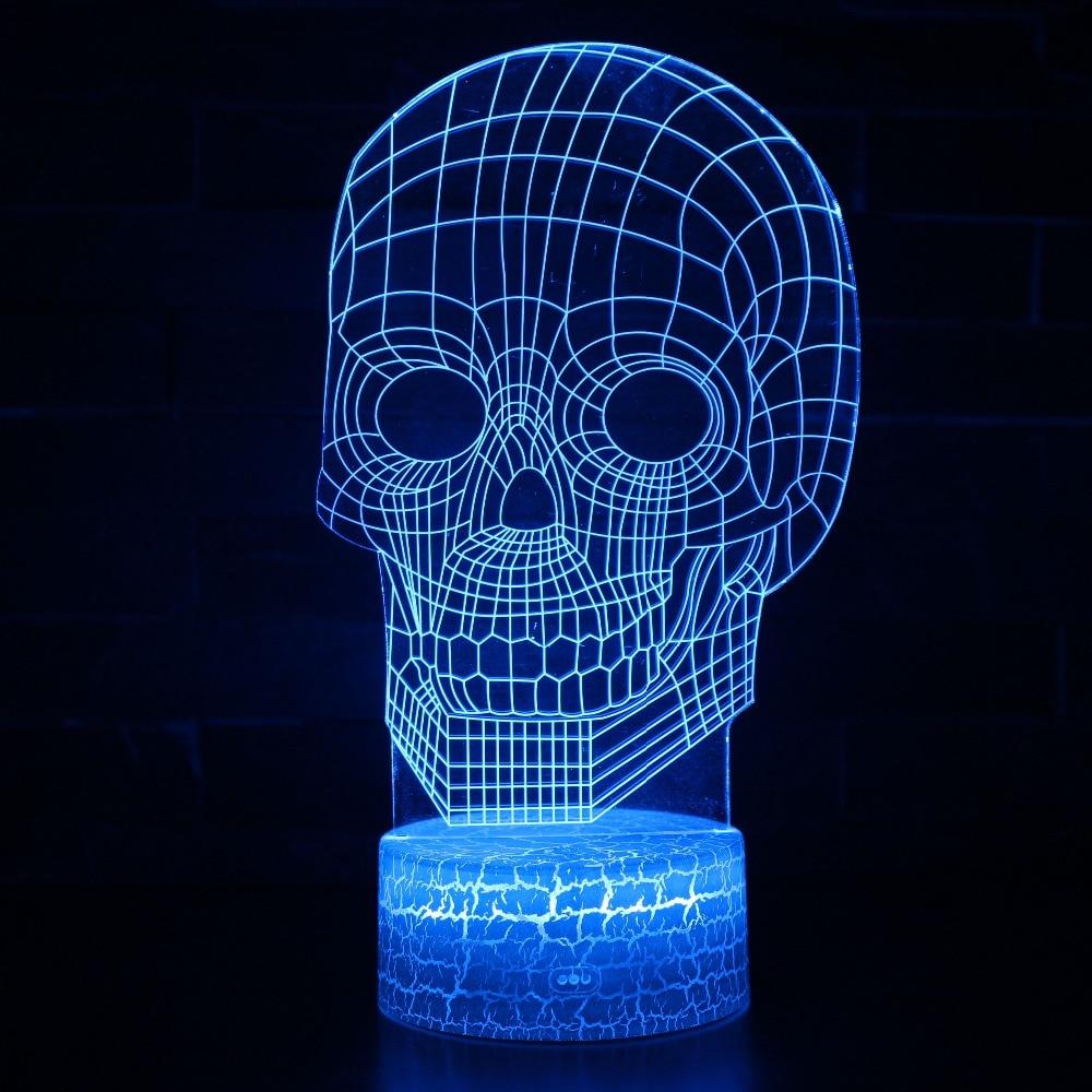 3D Illusion Bulbing Skull Lamp Acrylic LED Night Light Micro USB Table Desk Lamp