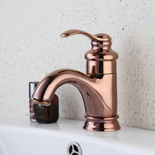 Basin Faucets Luxury Rose Gold Bathroom Faucet Single handle Basin Mixer Tap Deck Mounted Brass Lavatory sink Mixer Basin Tap free shipping single handle rose gold bathroom faucet with deck mounted space aluminium kitchen sink water faucets