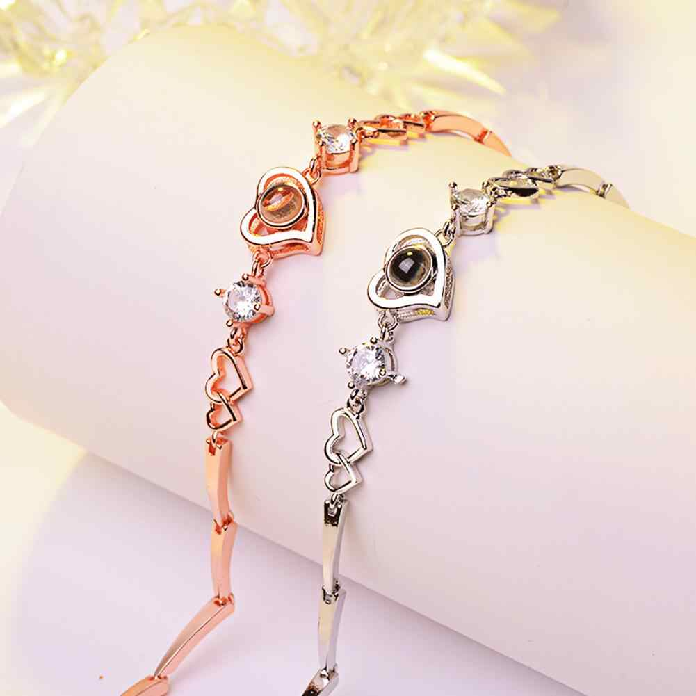 Fashion Heart Charm 100 Languages I Love You Projection Chain Bracelet Jewelry hot