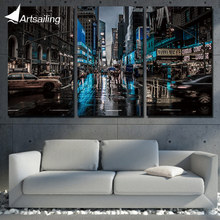 3 panel wall art painting New York City Night home decoration canvas prints pictures for living room/XA-1001C