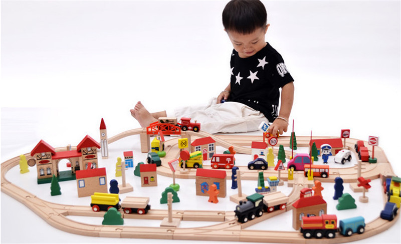 New wooden toy 120 piece wood Rail wooden blocks baby educational toy baby gift baby toy