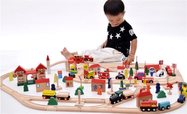 Novo brinquedo de madeira 120 peça madeira Rail blocos de madeira do bebê educational presente brinquedo do bebê brinquedo do bebê