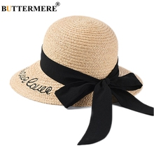 BUTTERMERE Raffia Straw Hats Women Beige Embroidery Letter Sun Caps Ladies Wide Brim 10cm Fashion Bowknot Summer UV Hat