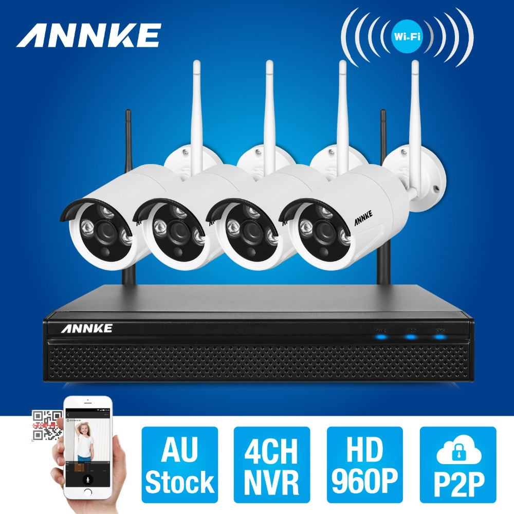 ANNKE 4CH CCTV System Wireless 960P NVR DVR 4PCS 1.3MP IR Outdoor P2P Wifi IP Security Camera Video Surveillance Kit